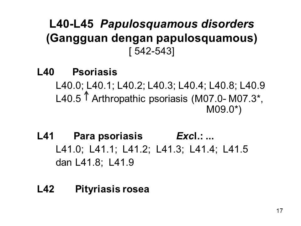 L40-L45 Papulosquamous disorders (Gangguan dengan papulosquamous) [ 542-543]